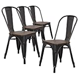 LCH Industrial Metal Wood Top Stackable Dining Chairs, Set of 4 Vintage Indoor/Outdoor Stackable Bistro Cafe Chairs with Back, Sanded Black