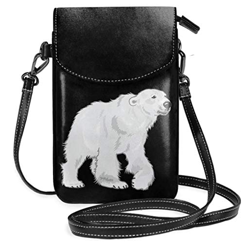 Small Cell Phone Purse For Women Leather Polar Bear Insides Card Slots Crossbody Bags Wallet Shoulder Bag