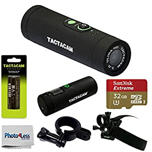 Tactacam 5.0 Wide Angle Action Camera with Battery, Head Mount & Universal Mount Remote Control + SanDisk Extreme 32GB UHS-I/U3 Micro SDHC Memory Card + Photo4Less Clean Cloth