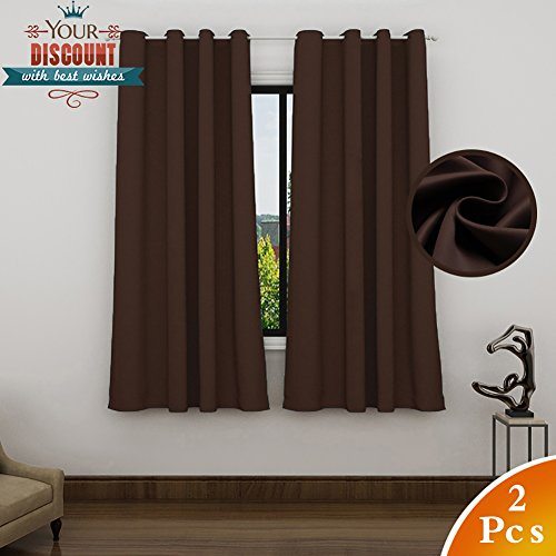 Lefeng Blackout Curtains Room Darkening Solid Thermal Insulated Grommet Black Out Window Curtain For Living Room/Bedroom 3 year warranty (2 Panels, W52 X L63 Inches, Brown) (Curtains Sale Bedroom For)