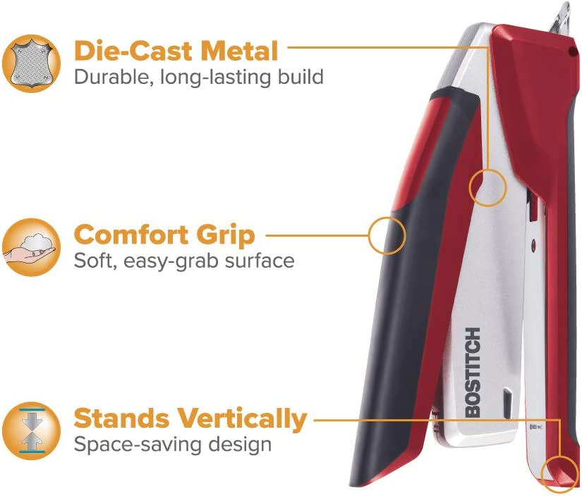 No Effort 2 Pack 1117 Bostitch InPower Spring-Powered Premium Desktop Stapler One Finger Red//Silver