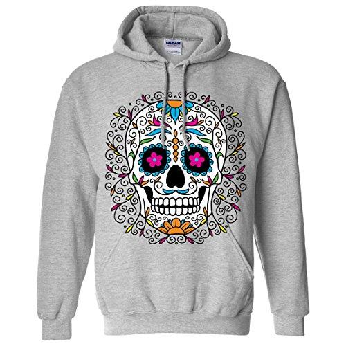 Day Of The Dead Outfit Ideas (Dia De Los Muertos Pastel Sugar Skull Sweatshirt Hoodie - Sport Grey)