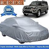 Autofact Premium Silver Matty Triple Stitched Car Body Cover with Mirror Pocket for Mahindra Scorpio