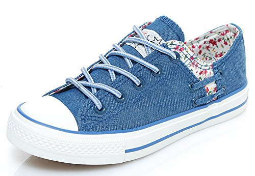 Idifu Vrouwen Casual Bloemen Lage Top Lace-up Platte Canvas Sneakers Donkerblauw