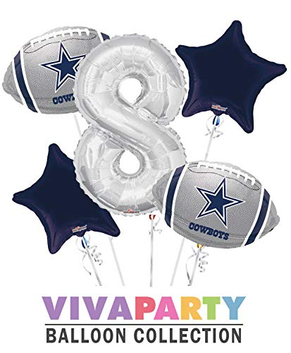 Dallas Cowboy Balloon Bouquet 5 pc, 8th Birthday, Silver Number 8 Jumbo Balloon | Viva Party Balloon Collection -