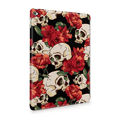 Grunge Skeleton Skulls Pattern Roses Wildflower Floral Hipster Plastic Tablet Snap On Back Case Cover Shell For iPad Air 2