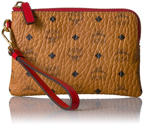 MCM Color Visetos Tech Pouch Small Wristlet (RED) by MCM