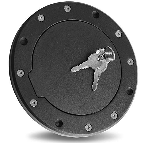 Maxiii Gas Fuel Tank Door Black Bolt-On Door Cover Cap with Lock & Key Fit for Jeep Wrangler 97-06 TJ