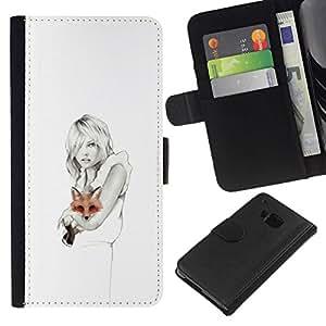 All Phone Most Case / Oferta Especial Cáscara Funda de cuero Monedero Cubierta de proteccion Caso / Wallet Case for HTC One M7 // White Clean Pencil Art Lady Pretty