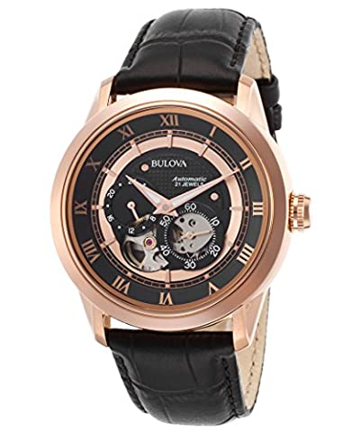 Bulova Men's Japanese Automatic Stainless Steel and Leather Casual Watch, Color:Black (Model: 97A116)