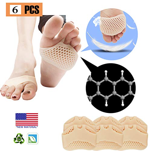 Metatarsal Pads, Ball of Foot Cushion (6 PCS), New Material, Forefoot Pads, Breathable & Soft Gel, Best for Diabetic Feet, Callus, Blisters, Forefoot Pain. (Nude)