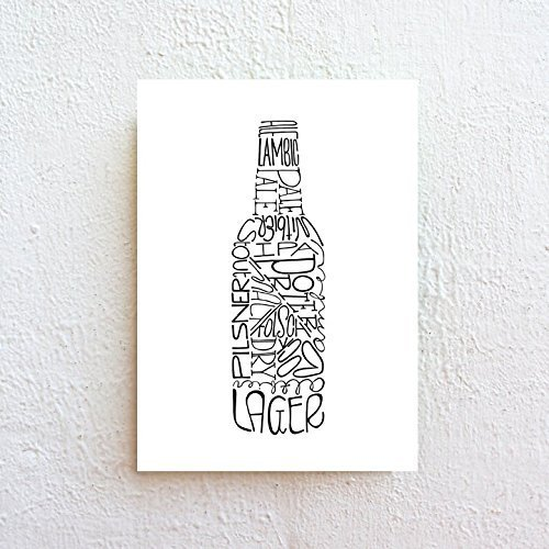 Beer Bottle - Black and White Typography Print on Fine Art Paper by SimpleSerene