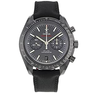 """Omega Speedmaster Co-Axial Chronograph """"Dark Side of the Moon"""" Black Dial Black Fabric Mens Watch 31192445101003"""