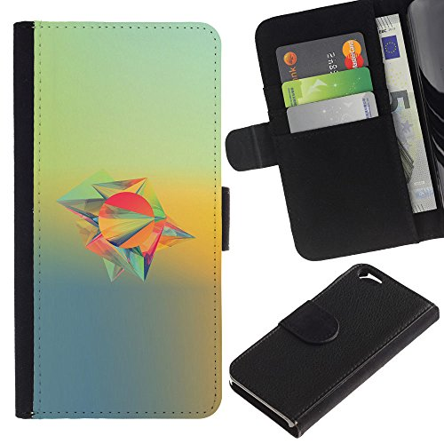 Funny Phone Case // Cuir Portefeuille Housse de protection Étui Leather Wallet Protective Case pour Apple Iphone 6 /Conception abstraite/