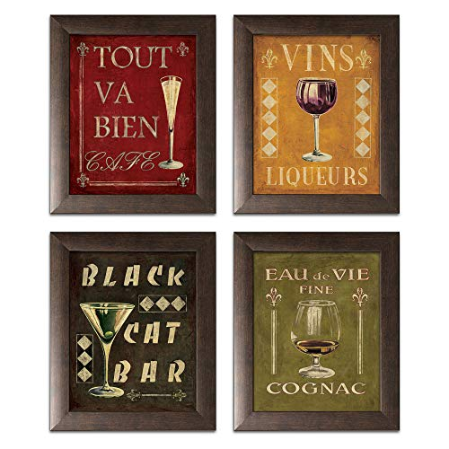 Gango Home Decor 4 Vintage Martini Wine Cocktail French Art Deco Prints Retro Bar Posters, Four Brown Framed 11 x 14-Inch Prints, Red/Black/Green/Gold