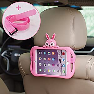 iPad Mini 2/3/4 Case, Bole Cat Case for Kids Handle Silicone Cute Cartoon Rabbit Design Shockproof Waterproof with Holder for Children Pink