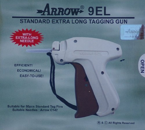 Arrow 9EL EXTRA LONG NECK NEEDLE Tag Gun + 1 Extra Needle + 1000 (Size 75mm) (3'') Barbs (Fasteners) Price Label Clothing Tagging Attacher with High Quality Steel Needle Combo by Tag Gun Supplies by Golden India