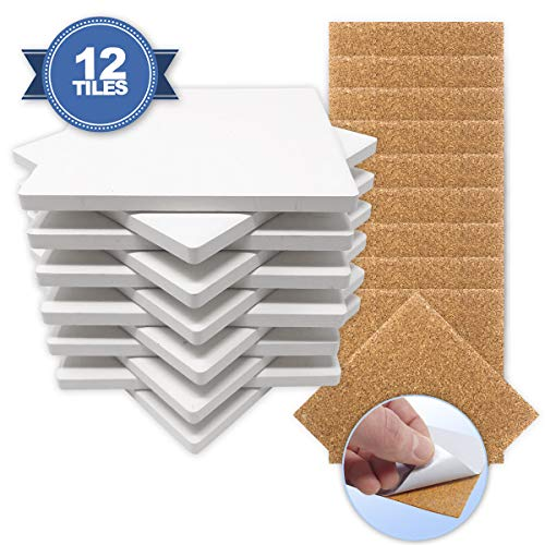 (Ceramic Tiles for Crafts Coasters,12 Ceramic White Tiles 4x4 with Cork Backing Pads, Use with Alcohol Ink or Acrylic Pouring, DIY Make Your Own Coasters, Mosaics, Painting Projects, Decoupage)