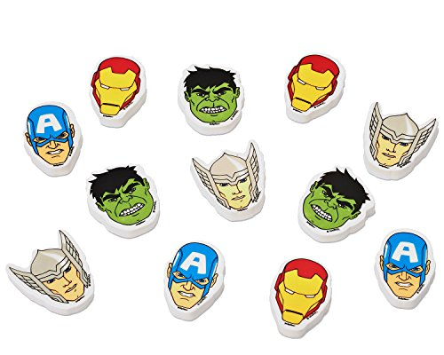 Marvel Avengers Party Accessories, Erasers, 12 Count, Party Supplies (Avengers Party Favours)