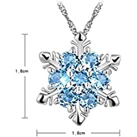 Alixyz Chic Snowflake Pendant Rhinestone Crystal Party Xmas Elegant Necklace Christmas present (A)