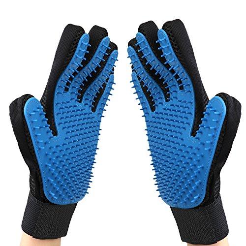 Pet Grooming Glove – Gentle Deshedding Brush Glove – Efficient Pet Hair Remover Mitt – Enhanced Five Finger Design…