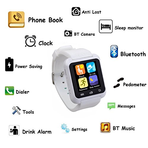 EasySMX Bluetooth Smart Watch U80 Wrist Watch Sport for Smartphones IOS/Android iPhone 4/4S/5/5S Samsung S4/Note 2/Note 3 HTC Android Phone(White), ...
