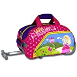 17-Inch Girls Pink Princess Themed Rolling Cary-on Upright Duffle Bag, All Over Flowers, Castle, Butterflies Print Suitcase, Kids School Duffel with Wheels, Wheeling Luggage, Lightweight, Fashionable
