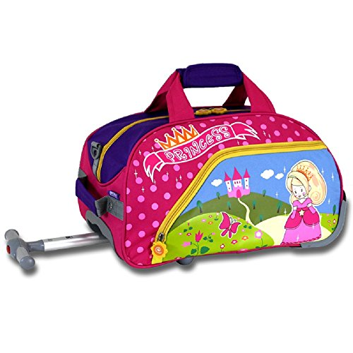 17-Inch Girls Pink Princess Themed Rolling Cary-on Upright Duffle Bag, All Over Flowers, Castle, Butterflies Print Suitcase, Kids School Duffel with Wheels, Wheeling Luggage, Lightweight, Fashionable by S & E