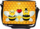 Bumble Bees in Love Wedding Illustration Design Premium School Messenger Bag + UKBK Wristlet
