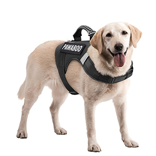 Pawaboo Service Dog Vest Harness, Premium Durable Heavy Duty Soft Padded Reflective Dog Vest Harness with 2 Removable Hook and Loop Patches, Strong PVC Handle on Top, Extra Large Size, Black