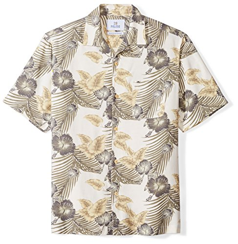 28 Palms Men's Relaxed-Fit 100% Silk Tropical Hawaiian Shirt, Natural/Grey Hibiscus Floral, - Silk Hawaiian Dresses