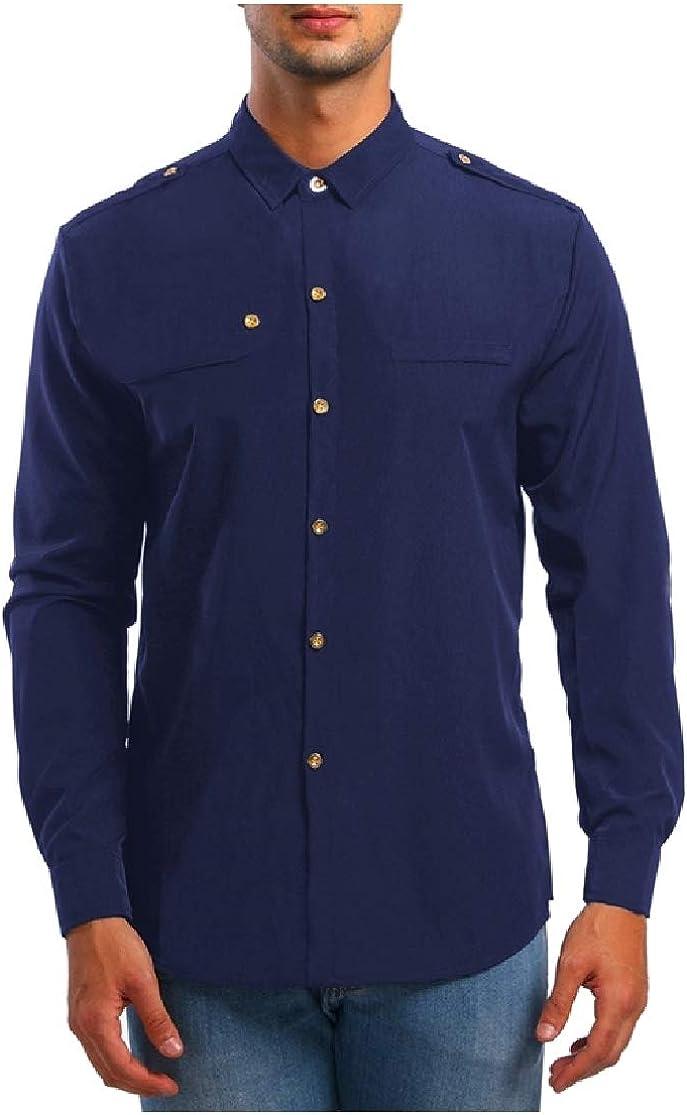 Comaba Men Premium Button Turn Down Collar Oversize Tshirt Shirt