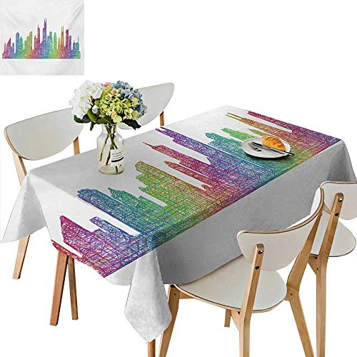 Spillproof Fabric Tablecloth,Abstract City Scene in Mixed Rainbow Tones Modern Featured Artful Kitsch Tablecloth for Picnic Outdoor or Indoor Party use,37.5W x 76.5L Inches -