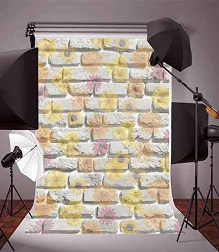 Leyiyi 3x5ft Photography Background Wedding Ceremony Backdrop White Brick Walls Dotted Flowers Birthday Party Bridal Shower Banquet Dessert Table Baby Shower Photo Portrait Vinyl Studio Prop