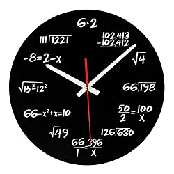 AKAHA Math Clock 12-Inch - Unique Art Design - Mathematical Equations Wall Clock for Classroom, Home, Office.