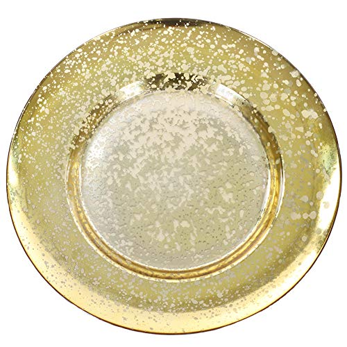 Koyal Wholesale Antique Mercury Glass Charger Plates, Bulk Set of 4, Gold Vintage Charger Plates for Wedding Reception Place Settings, Christmas Thanksgiving Dinnerware, Modern Dining Table Settings (Plates Charger Thanksgiving)