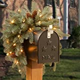 National Tree 3 Foot Feel Real Frosted Artic Spruce Mailbox Swag with Cones and 35 Battery Operated Warm White LED Lights (PEFA1-307-3M-B1)