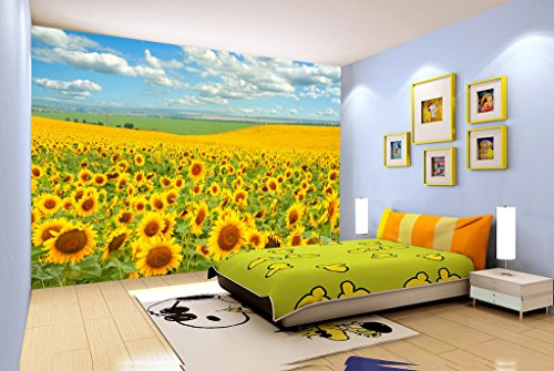 3D Golden Sunflower 6 Wall Paper Wall Print Decal Wall Deco Indoor wall Murals Removable Wall Mural | Self-adhesive Large Wallpaper , AJ WALLPAPER Carly ()