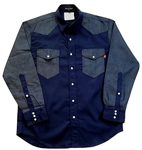 Snap Tone Two (Just In Trend Flame Resistant FR Shirt - 88/12 - Western Style - Two Tone (Large, Dark Blue/Denim))