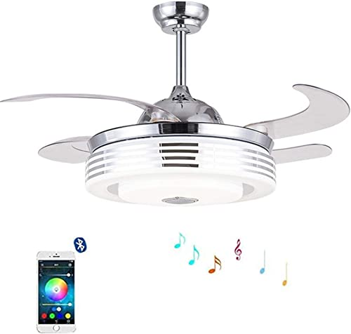 KALRI Modern Ceiling Fan with LED Lights and Remote Invisible Retractable Blades Fan Chandelier Lamp with Bluetooth Speaker Music Player 7 Light Colors Dimmable Pendant Light for Dining Room Bedroom