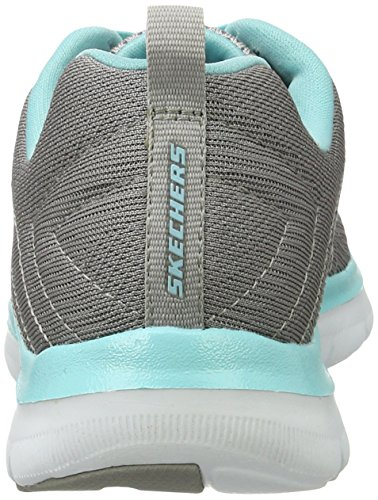 Schnürung gepolsterter Appeal 0 gylb und 2 Einlegesohle Flex Running Skechers Trainers Gris Air Memory aus mit Outdoor Free Grau Cooled Foam Damen Break BPwEI