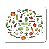 "Nakamela Mouse Pads Doodle Vegetables Seasonal Harvest Symbol Collection Cartoon Different Kinds of Fresh Food Various Vegan Mouse mats 9.5"" x 7.9"" Mouse pad Suitable for Notebook Desktop Computers"