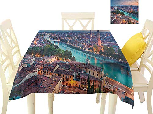 (WilliamsDecor Dining Table Cover European,Verona Italy Blue Hour Square Tablecloth W 70