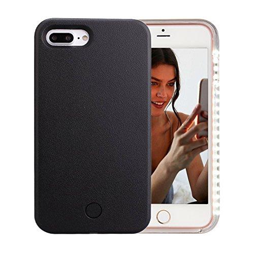 iPhone 7 Plus Case, iPhone 8 Plus Case, AUYOUWEI LED Illuminated Selfie Light Case Cover [Rechargeable] Light Up Luminous Selfie Flashlight Cell Phone Case for iPhone 7/8 Plus (Black)