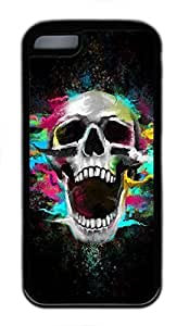 Custom Soft Black TPU Protective Case Cover for iPhone 5C,Shouting Skull Painting Case Shell for iPhone 5C