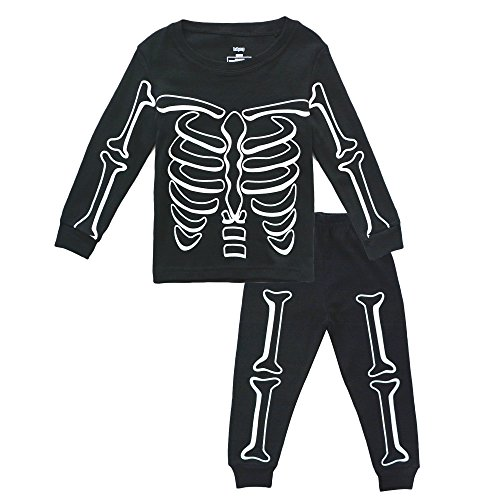 KISBINI Toddler Boys Pajama Set Pjs Jammies for Halloween Xmas Skeleton Rack 5T]()