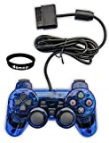 Donop® Wired Blue Controller for Ps2, Game Pad Game Gaming Controller Joypad Gamepad Console Controller Joysticks for Sony Playstation 2 Ps2 w/ Dual Shock Dual Vibration with Donop® Black Wristband