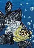 ACEO Original Panda Black Moor Goldfish