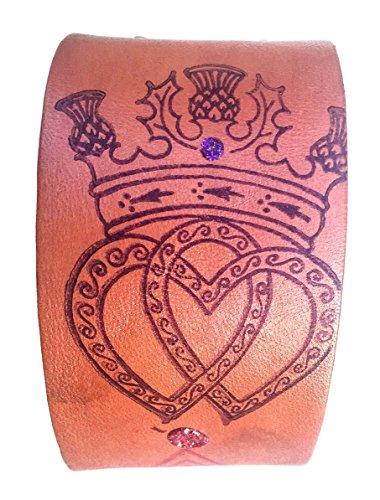 Irish Claddagh Genuine Leather Cuff Bracelet Womens