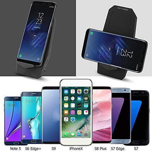 10W高速ワイヤレス充電器、2-コイル充電スタンドホルダー、iPhoneのX MAX/XR/XS/X / 8Plus /ギャラクシーS10 / S10Plus / S10E / S9すべてのチー対応デバイスとの互換性